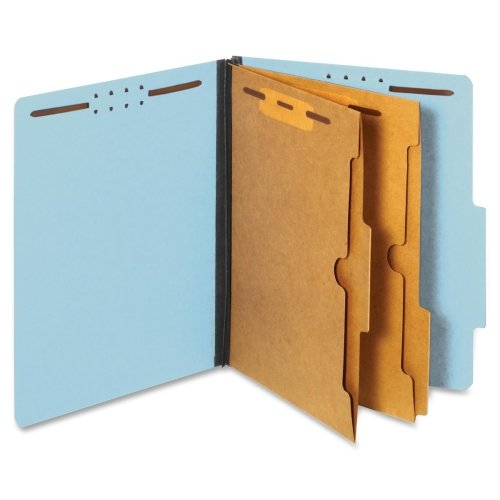 (Globe-Weis/Pendaflex Colored Classification Folders, 2/5 Cut Tab, 2 Pocket Dividers, Embedded Fasteners, Letter Size, Blue, 10 Folders Per Box (24081))