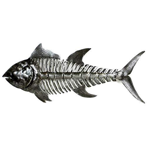 Highland Dunes Handmade Fish Bones Recycled Metal Gray Wall Decor from Highland Dunes