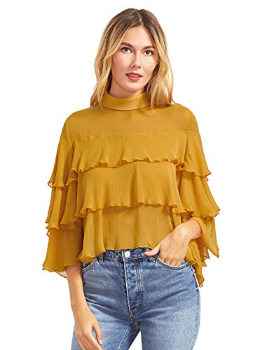 SheIn Women's Layered Ruffle Half Sleeve Collared Keyhole Back Blouse X-Small Yellow
