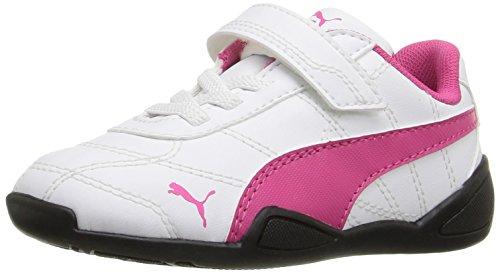 PUMA Girls' Tune CAT 3 V INF Sneaker, White/Fuchsia Patent, 9 M US Toddler
