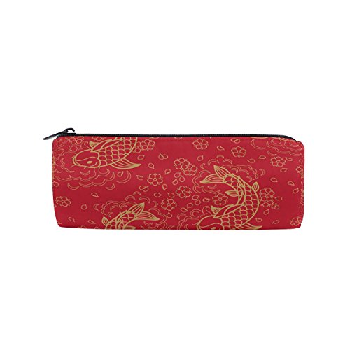 WOZO Chinese Red Koi Fish Pen Pencil Case Makeup Cosmetic Pouch Case Travel Bag -