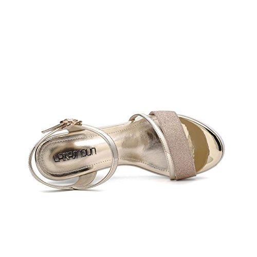 Estivi Classico Suola Piattaforma Sandali Spessa Zeppa Tacco a creativo 6274 Golden Donna JZTC Donna KJJDE qCP4Xq