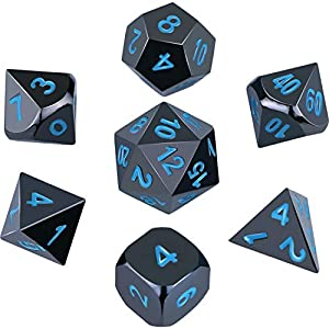 Hestya 7 Pieces Metal Dices DND Polyhedral Solid Metal D&D Dice Game Dice with Random Numbers and Velvet Storage Bags for Role Playing Game Dungeons and Dragons Game, Math Teaching (Black nickel blue)