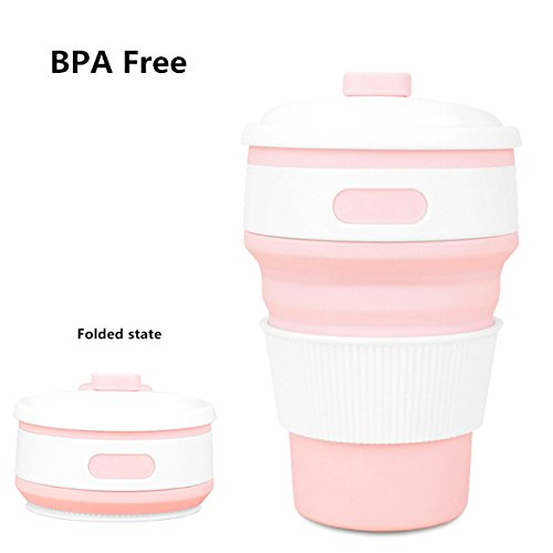 NPYPQ Collapsible Telescopic Cup, Reusable, 12 oz, BPA-Free Silicone Travel Mug with Leak-Proof Lid for Hot and Iced Coffee To Go, Tea, Water. Ideal for Camping, Hiking, Outdoors, Dishwasher Safe (Avalon Picnic Backpack)