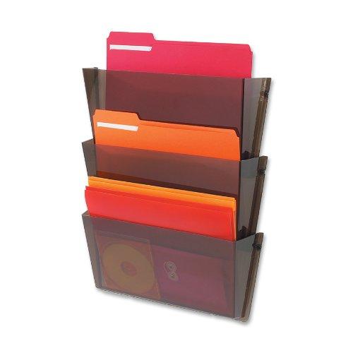 Deflecto 63602 Unbreakable docupocket expandable three-pocket wall file set, letter, smoke