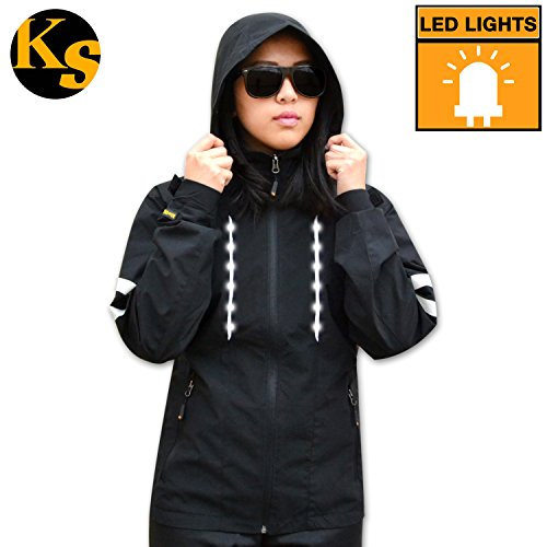 KwikSafety High Visibility Reflective LED Windbreaker | Long Sleeve Waterproof, Lightweight, & Breathable Safety Jacket | Cycling, Running, Walking, Rain Protection for Men and Women | Black XL