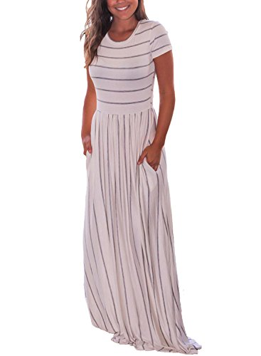 HOTAPEI Women's Summer Casual Loose Long Dress Short Sleeve Pocket Maxi Dress Grey and White Striped