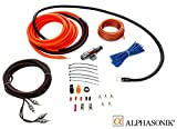 Alphasonik AAK2G Premium 2-Gauge Complete Car Amplifier Installation Kit Hyper-Flex Power, Ground, Speaker Wire RCA Cable - Exceeds AWG (American Wire Gauge) Standard Element Certified Amp Install Kit