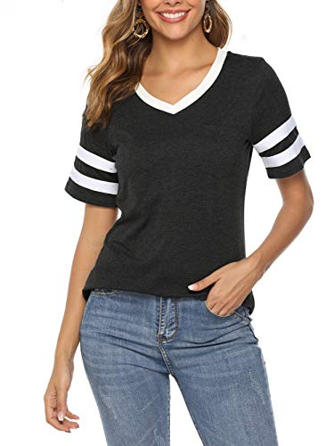 Famulily Womens Baseball Tee Short Sleeve V Neck Loose Striped Tshirt Tunic Top with Pocket Black M