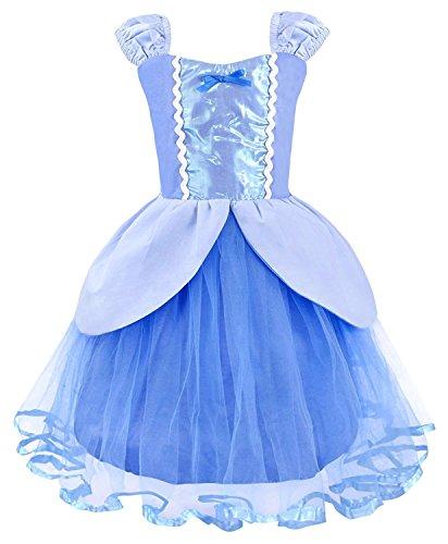 LENSEN Tech Kids Princess Mermaid Rapunzel Dress Fancy Party Snow White Costume (Snow White, 3-4 -