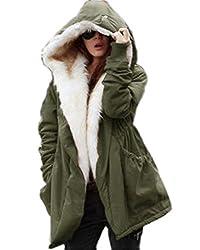 Labaqiangj Women Thicken Warm Winter Coat Hood Parka Overcoat Long Jacket Outwear Army Greenxx Large 14