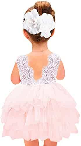 2Bunnies Girl Baby Girl Beaded Backless Lace Back Tutu Tulle Flower Girl Party Dress