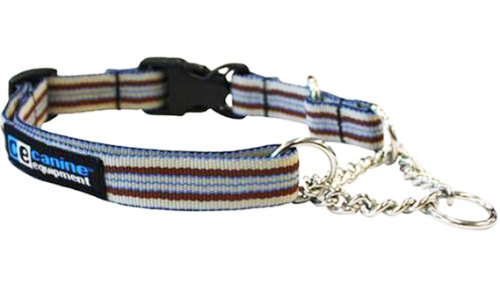 Canine Equipment Ultimate 1-Inch Quick Release Martingale Dog Collar, Large, Brown Stripes