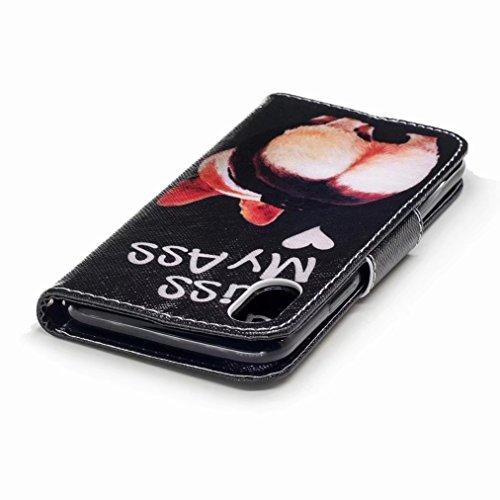 Yiizy handyhülle Apple iPhone X / IPhone 10 / IPhone Ten hülle, Hunde Ass Tasche Leder Schutzhülle PU Ledertasche Bumper Schutz Flip Cover Case Magnet Beutel Klappe Silikon Gummi huelle Schale Stehen