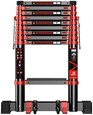 LJSJT Escalera Telescópica aleación de Aluminio Pedal Antideslizante Seguro y a Salvo Fácil de Cargar 9 Pasos Escalera Recta 3.5 m de Alto: Amazon.es: Hogar