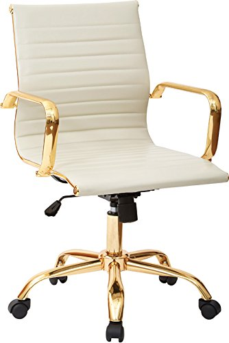 Work Smart FL3836G-U28-osp Faux Leather Mid Back Arm Chair, Cream