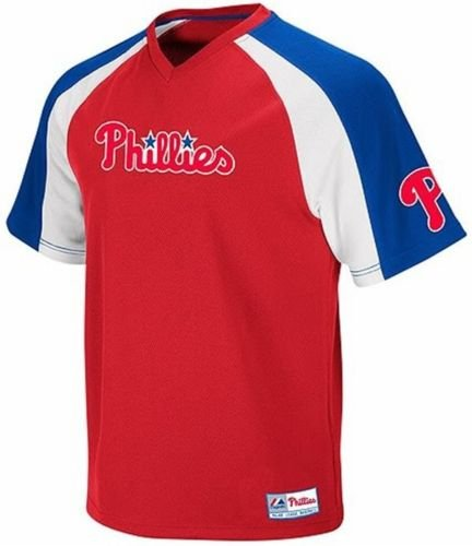 Majestic Philadelphia Phillies MLB Red V Neck Crusader Jersey Big & Tall Sizes (4XL)