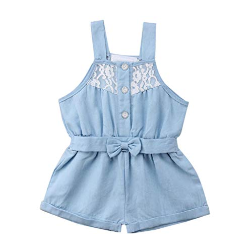 Toddler Little Girls Vest Romper Clothes - Sleeveless Lace Button Up Strap Tank Jumpsuit Outfit - Bowknot Shorts Playsuit Pants (12-18 Months, Light Blue)