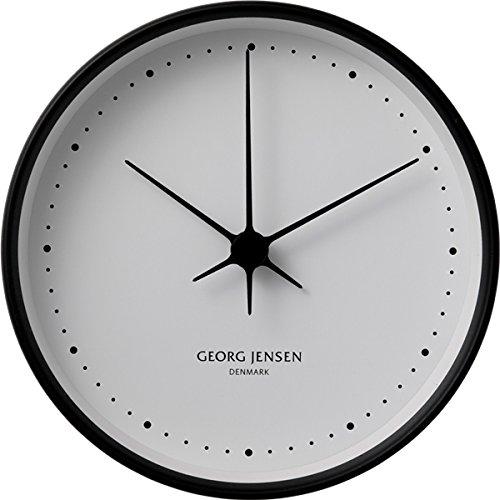 Georg Jensen コッペル ウォールクロック ブラックステンレススティール ホワイトダイヤル アナログ 10cm ブラック 3587524 B002VF96XY ホワイト/ブラック(10cm) ホワイト/ブラック(10cm)
