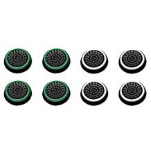 Insten [4 Pair/8 Pcs] Silicone Analog Thumb Grip Stick Cover,Game Remote Joystick Cap for PS4 Dualshock 4/PS3 Dualshock 3/PS2 Dualshock/Xbox One Wireless/Xbox 360 Controllers (Black/Green,Black/White)