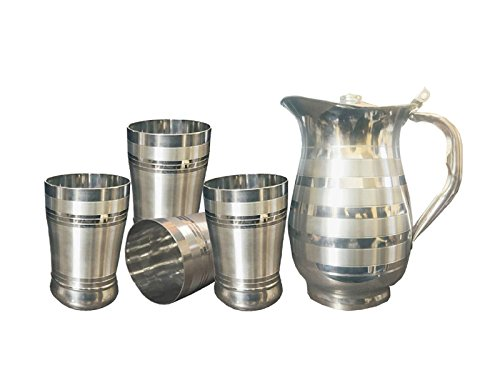Kuber Industries Pure Stainless Steel Jug Pitcher 1500 ML For Storage & Serving Water With 4 Steel Glass (Jug24)