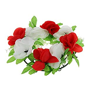 D DOLITY Simulation Silk Rose Flower Floral Wreath Cemetery Flower Memorial Flower Wreath 25cm 7