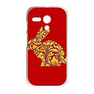 Motorola G Cell Phone Case White Rabbit Ornate Vintage Pattern Decoration 1 MXU Plastic Cell Phone Case Protective