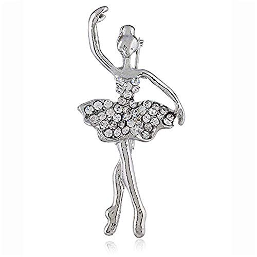 AILUOR Crystal Ballet Dancer Brooch Pins, Trendy Flower Girl Jewelry Gold-Tone Dancing Ballerina Girl Art Deco Accessory Lapel Pin Corsage for Women ()