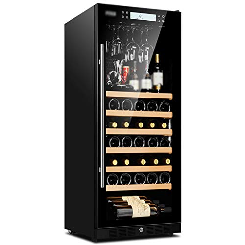 "Hermsi 20"" Wine Cooler/Chiller 48 Bottle Built-in or Freestanding, Air-Cooled Frost-Free/Negative Ion Purification/Silent Operation/Touch Control Panel, with Pulley"