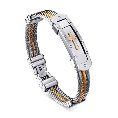 SumBonum Jewelry Mens Stainless Steel Bracelet, Two Tone Cable Twist Chain Gothic (2 Tone Gold Link)
