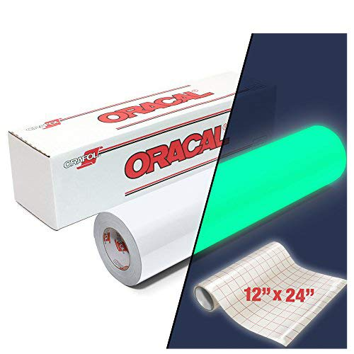 ORAFOL ORACAL 9300 Hi-Energy Glow in The Dark Luminescent Cast Vinyl 12'' x 24'' Roll for Silhouette, Cameo & Cricut Including 12'' x 24'' Roll of Clear Transfer Paper (2 Roll Pack)