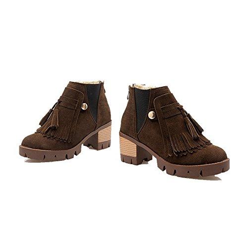 AgooLar Boots Brown Heels Imitated Suede Solid Kitten Women's Top Zipper Low HzxqgTnHwr