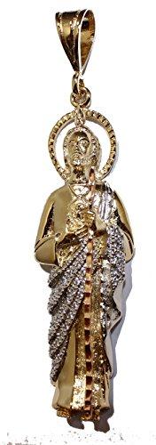 San Judas Tadeo-St. Jude Thaddeus 14K plaqué or trois Tons Doré avec chaîne de 61cm