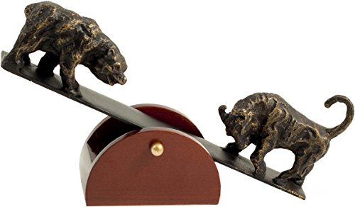 See-Saw Stock Market Bull and Bear Sculpture – Figurine