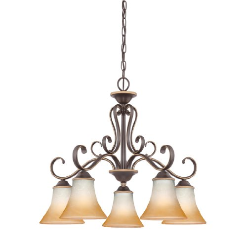 Marble Glass Shade (Quoizel DH5105PN Duchess 5-Light Chandelier with Champagne Marble Glass Shades, Palladian)