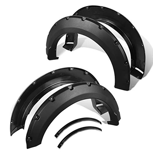 DNA Motoring WF-81006-MBK Pocket-Riveted Style Fender Flare Cover Wheel Protectot 4Pcs/Set