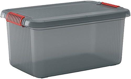 KIS 8563000 0720 01 K Latch Box-Caja de almacenaje plástico 43 Fumar L, Color Gris y Naranja: Amazon.es: Hogar