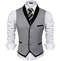 COOFANDY Men's V-Neck Sleeveless Slim Fit Vest Jacket Business Suit Dress Vest