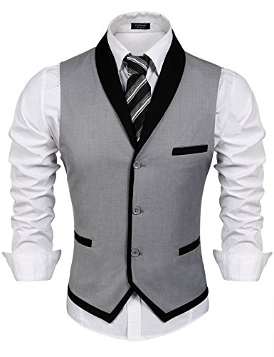 Coofandy Men's V-neck Sleeveless Slim Fit Vest,Jacket Business Suit Dress Vest, Grey, Small