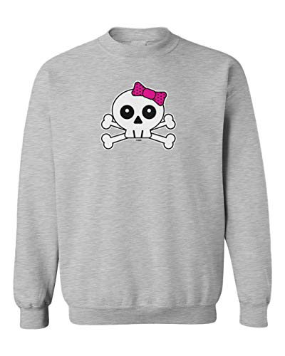 (Tcombo Skull with Pink Bow - Crossbones Youth Fleece Crewneck Sweater (Light Gray, Large))