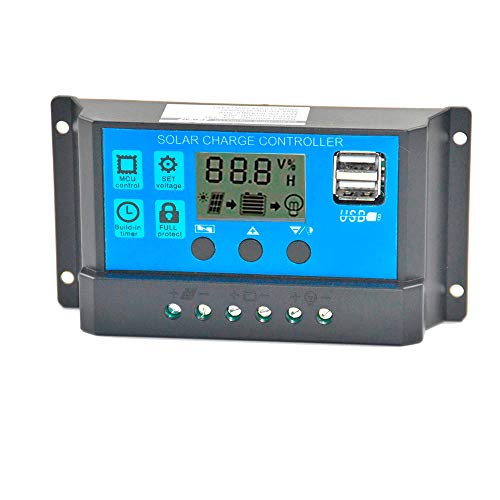 TKI-S Solar Panel Regulator Charge Controller with Double USB Ports Charge USB 60A 12V-24V with Dual USB Charger