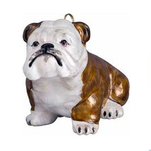 Joy to The World Collectibles European Blown Glass Pet Ornament, Bulldog, Brown and White