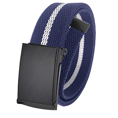 Men's Cut to Fit Golf Belt Casual Outdoor Canvas with Black Military Flip Top Buckle Medium Navy and White Stripe (Casual Canvas Belt)