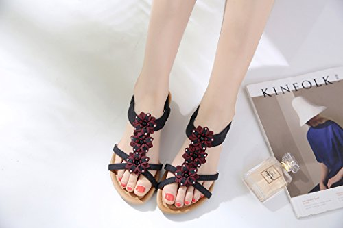Ruiren Women Bohemian Flower Rhinestone Sandals,Summer Casual Flat Shoes for Ladies Black