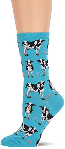 (Hot Sox Women's Animal Series Novelty Casual Crew Socks, Cows (Light Turquoise), Shoe Size:)