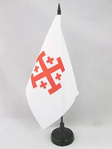 AZ FLAG TISCHFLAGGE Orden VOM HEILIGEN Grab ZU Jerusalem 21x14cm OSSH TISCHFAHNE 14 x 21 cm flaggen