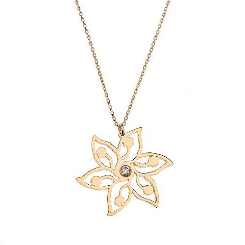 14k Yellow Gold 6-Petal Star Flower Cubic Zirconia Pendant Necklace, 16