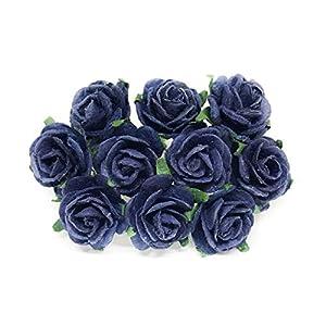 2cm Navy Blue Paper Roses, Mulberry Paper Flowers, Miniature Flowers, Mulberry Paper Rose, Navy Wedding Favor Decor, Artificial Flowers, 25 Pieces 58