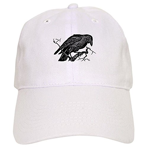 CafePress - Vintage Raven in Tree Illustration - Baseball Cap with Adjustable Closure, Unique Printed Baseball Hat White ()