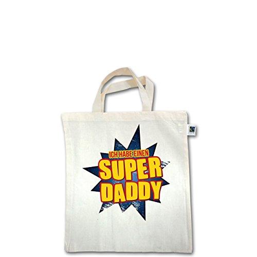 Sprüche Kind - Ich habe einen Super Daddy - Unisize - Natural - XT500 - Fairtrade Henkeltasche / Jutebeutel mit kurzen Henkeln aus Bio-Baumwolle